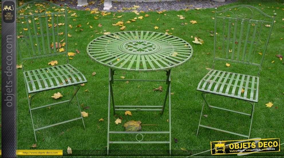 Muebles de jardín 1 mesa y 2 sillas de metal blanco