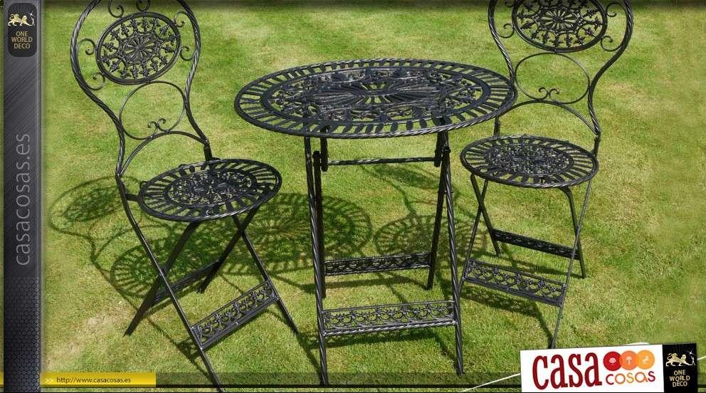 Muebles de jardín de hierro forjado 3 piezas