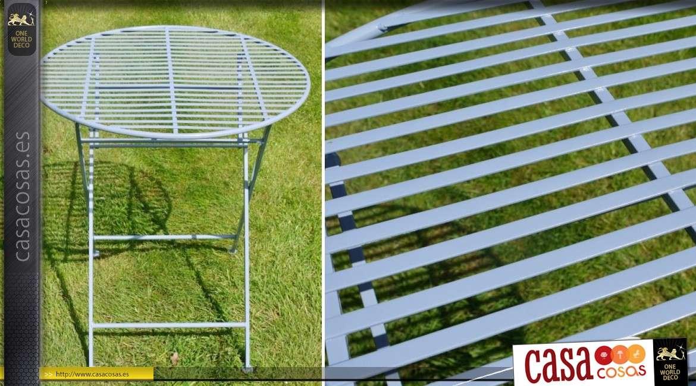 Muebles de jardín en metal y hierro forjado 2 lugares de color azul ...