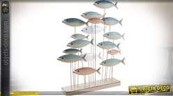 Deco de peces de metal lacado, de madera 68 cm