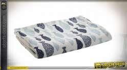 Manta para bebé en suave terciopelo, patrones de pequeños peces azules, 100cm