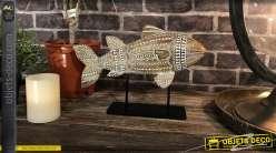 Decoración en madera de mango, acabado blanqueado, pez tallado montado sobre una base de metal negro, espíritu trofeo, 25cm
