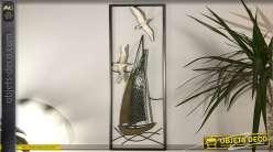 Decoración de pared de metal, estilo marinero con veleros y gaviotas, 74cm